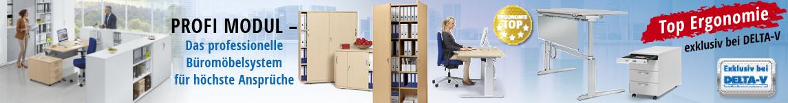 Hochwertig und ergonomisch - PROFI MODUL, das Professionelle Büromöbelsystem für höchste Ansprüche von DELTA-V