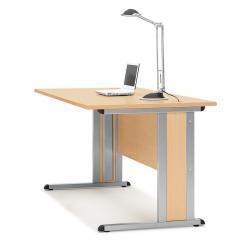 Schreibtisch Basic MULTI MODUL Buchedekor | 1600 | Alusilber RAL 9006 | Rechteck