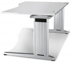Schreibtisch Freiform C-Fuß PROFI MODUL Lichtgrau   1600   Freiform rechtsseitig