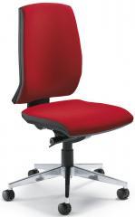 Bürodrehstuhl CONTO ohne Armlehnen Rot | Aluminium poliert