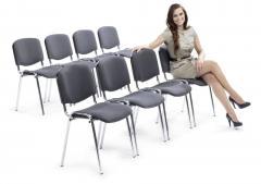 8er Set-Besucherstühle ISO Grau | Verchromt