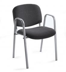Besucherstuhl ISO mit Armlehnen - Gestell alusilber