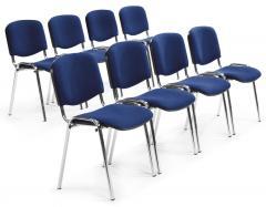 8er Set-Besucherstühle ISO Blau | Verchromt