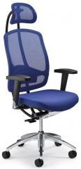 Bürodrehstuhl MATTEGO inkl. Armlehnen Blau | Aluminium poliert | Ja