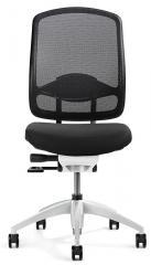 Bürodrehstuhl MATTEGO ohne Armlehnen Schwarz | Alusilber