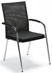 Besucher- und Konferenzstuhl RIVA 4 Schwarz | Stoffsitz mit Netzrücken