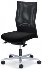 Bürodrehstuhl winSIT NET ohne Armlehnen Schwarz | Sitztiefenverstellung, Synchronmechanik | Alusilber
