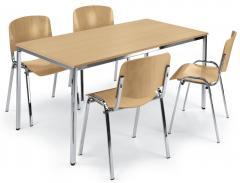 SET-ANGEBOT: Tisch B 1600 x T 800 mm + 4x ISO Holz