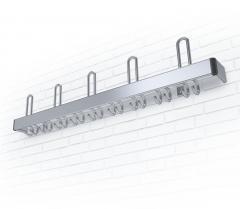 Wandgarderobe F Aluminium 5 Hut-/ 18 Mantelhaken, flacher Garderobenträger