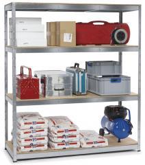 Stahl-Steckregal ECONOMY PLUS mit Holzböden - bis 300 kg