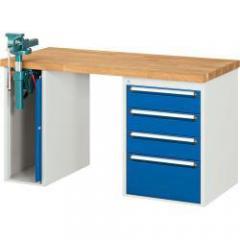 XXL-Werkbänke mit Schraubstockschrank + 4 Schubladen
