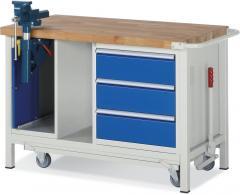 Mobile Werkbänke mit 3 Schubladen und Schraubstock