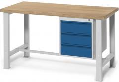 Werkbank WS PROFI mit drei Schubladen, Höhe fix 840 mm