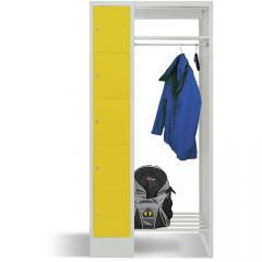 Garderobe mit Schließfachschränken BASIC Zinkgelb RAL 1018 | Garderobenbreite 540 mm | 300 | 1 | 5