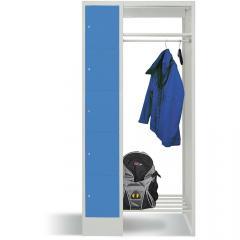 Garderobe mit Schließfachschränken BASIC Lichtblau RAL 5012 | Garderobenbreite 540 mm | 300 | 1 | 5