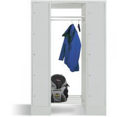 Garderobe mit Schließfachschränken BASIC Lichtgrau RAL 7035 | Garderobenbreite 540 mm | 300 | 2 | 10
