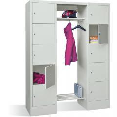 Garderobe mit Schließfachschränken BASIC Lichtgrau RAL 7035 | Garderobenbreite 540 mm | 400 | 2 | 10