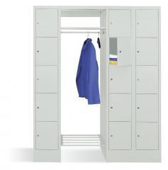 Garderobe mit Schließfachschränken BASIC Lichtgrau RAL 7035 | Garderobenbreite 540 mm | 300 | 2 | 15