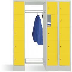 Garderobe mit Schließfachschränken BASIC Zinkgelb RAL 1018   Garderobenbreite 540 mm   300   2   15