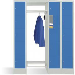 Garderobe mit Schließfachschränken BASIC Lichtblau RAL 5012 | Garderobenbreite 540 mm | 300 | 2 | 15