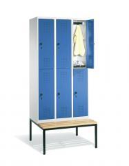 Doppelstöckige Garderoben-Stahlspinde SERIE EVOLO mit Sitzbank