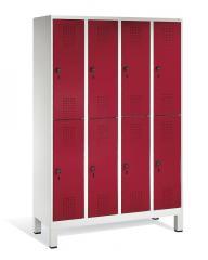 Doppelstöckige Garderoben-Stahlspinde SERIE EVOLO mit Füßen