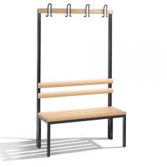 Sitz- und Garderobenbank Schwarzgrau RAL 7021 | 1000 | einseitige Garderobenbank | mit Holzleisten | ohne Schuhrost