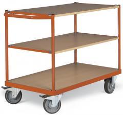 Tischwagen DELTAMOBIL: 350Kg Tragkraft, waagerechter Griff, 3 Ladeflächen, 2 Abmessungen