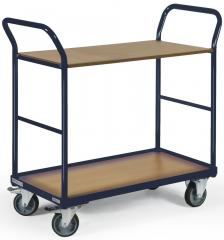 Etagenwagen DELTAMOBIL Stahlblau RAL 5011 | Ladefläche: L 850 x B 500 mm
