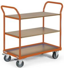Tischwagen DELTAMOBIL: 350Kg Tragkraft, ergonomischer Griff, 3 Ladeflächen, 2 Abmessungen