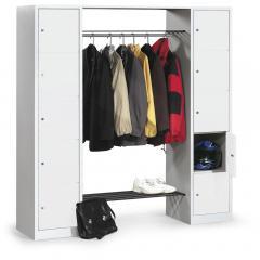 Garderoben-Kombination - Stahl mit Schließfachsäulen