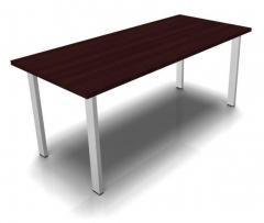 Konferenztisch DELTA-ORBIS Wenge | 1600 | Rechteckig, 4 Sitzplätze | Alusilber RAL 9006