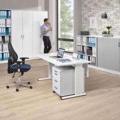 Schreibtisch Comfort M MULTI MODUL Weiß   800   Weiß RAL 9010