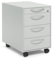 Rollcontainer DELTAFLEXX Lichtgrau | 600 | Schubladen Stahl | 1+3 Schübe