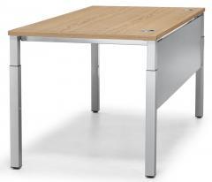 Schreibtisch 4-Fuß PROFI MODUL Eiche hell   800   Alusilber RAL 9006