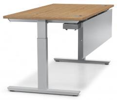 Schreibtisch T-Fuß PROFI MODUL Nussdekor | 800 | Alusilber RAL 9006