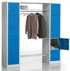 Garderoben-Kombination mit Schließfachsäulen aus Stahl