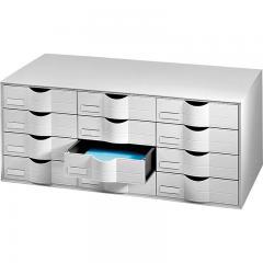 Schubladen-System mit 12 Schüben Lichtgrau | Block mit 12 Schubladen