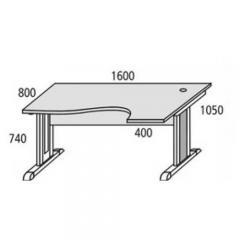 Schreibtisch Freiform Basic MULTI MODUL Lichtgrau | Freiform rechtsseitig