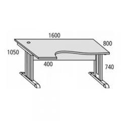 Schreibtisch Basic MULTI MODUL Ahorndekor | 1600 | Alusilber RAL 9006 | Freiform linksseitig