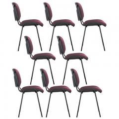 8er Set-Besucherstühle ISO Bordeaux | Schwarz