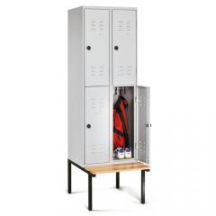 Doppelstöckige Garderoben-Stahlspinde BASIC mit untergebauter Sitzbank