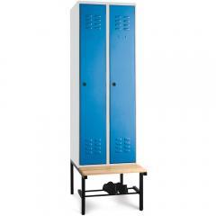 Garderoben-Stahlspinde BASIC mit untergebauter Sitzbank, Holzleisten