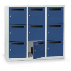 Postverteilerschrank zur Wandaufhängung, 9 Fächer Enzianblau RAL 5010 | 9
