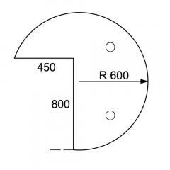 Anbauplatte 3/4-Kreis PROFI MODUL Buchedekor | Stützfuß rund | Anbauplatte Dreiviertelkreis