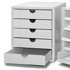 Kunststoff-Schubladenbox Lichtgrau | 5 geschlossene Schubladen