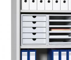 SET Kunststoff-Schubladenboxen Lichtgrau | 3 Boxen, geschlossene Schübe