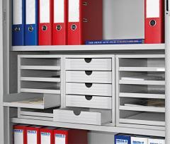 SET Kunststoff-Schubladenboxen Lichtgrau | 2 Boxen, offene Schübe, 1 Box geschlossene Schübe