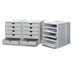 SET Kunststoff-Schubladenboxen Lichtgrau | 1 Box, offene Schübe, 2 Boxen geschlossene Schübe