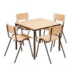 Kantinenset 1 Tisch, 4 Stapelstühle